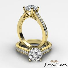 1.3ct Natural Round Diamond Engagement Pave Set Ring GIA F SI1 14k Yellow Gold