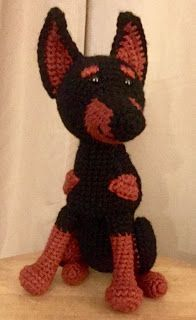 Note: I want to say that I did not know until after I made this amigurumi that this breed of dog actually has naturally floppy ears. I would like to sincerely apologize if anyone finds it offensive that this amigurumi dog has altered ears. Doberman Puppies For Sale, Doberman Dogs, Yarn Animals, Crochet Animals, Crochet For Kids, Free Crochet, Funny Crochet, Dog Crochet, Crochet Toys