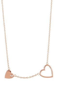 Double Hearts Charm Necklace - Would love this in silver/white gold!
