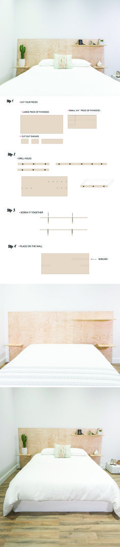 A headboard and some nightstands, all in one! The minimalist look works out for the most function in this easy-to-construct DIY!