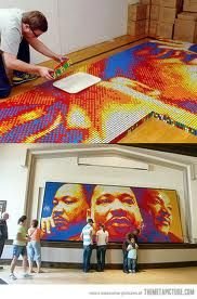 Rubix cube art... This is AMAZING! He makes portraits using only the colored blocks on a rubix cube!