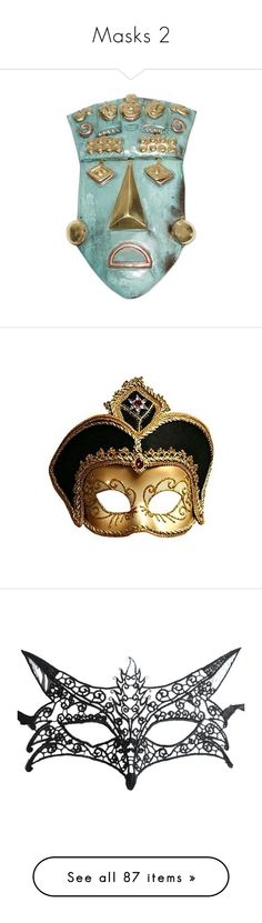 """""""Masks 2"""" by jennross76 ❤ liked on Polyvore featuring home, home decor, masks, metallic, novica masks, novica, bronze home decor, aqua home decor, novica home decor and costumes"""