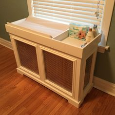 DIY radiator cover baby changing table