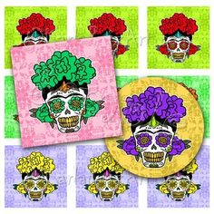 Frida Kahlo Calavera, printable image sheet for DIY crafts, jewelry, paper crafts or scrapbooking projects. Buy 3 get one FREE! Item No. dc54062236 by KarlaRuizDesigns