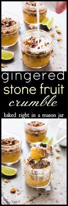 This loquat cobbler is baked right in the mason jars, making it the perfect grab-and-go breakfast. Use stone fruit of choice if loquats aren't available Vegan Dessert Recipes, Real Food Recipes, Delicious Desserts, Vegan Sweets, Vegan Food, Fruit Crumble, Fruit Cobbler, Cobbler Topping, Mini Desserts