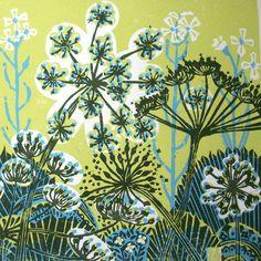parsnip flowers, linocut, print, colour, floral, layers, plant, nature, illustration, design
