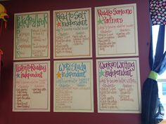 Teacherific: daily 5 smaller anchor charts. Create large anchor charts as a class as yore setting up the daily 5 and have them posted for the first few weeks, then create smaller versions to be posted all year.