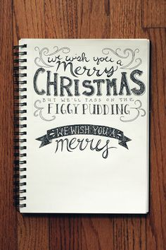 Amanda's lettering practice #4 (working on a Christmas card design... possibly making it into a postcard?)