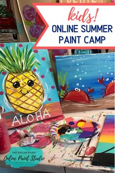 This art camp is for all the moms out there who need something to occupy their kids on those summer days at home when there is nothing to do! Let's get kids painting and being creative. Join Christie Hawkins and the Social Easel in 6 full tutorials. Summer Camp Art, Summer Crafts For Kids, Summer Kids, Art For Kids, Art Camp, Kids Painting Class, Summer Painting, Kid Painting, Kids Camp Activities