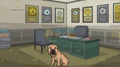 A Sad Shar Pei Dog With Office Of An Award Winning Record Producer Background :  A dog with small triangle ears and a high set curled tail sand colored wrinkly coat brown muzzle sitting on the floor while looking sad and A room with walls in different tones of gray olive green flooring with carpet green desk two gray chairs a gray telephone and shelf with multiple platinum and gold record framed awards hanging on the wall