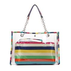 "Zicac Women's Clear Colorful Stripe Top Handle Handbags Beach Wallet Swimming Tote Shoulder Bag (Multicolor). 2 in 1 style ,small stripe bag in the big clear Handbag ,small bag can be used as wrist bag or cosmetic bag. See through,transparent,rainbow strip design and fashion metal chain. Snap button closure. Size:Clear Purse:16""x3.9""x11""; Small stripes bag:11.8""x3""x9.4""(L*W*H). Ideal for Beach,shopping,travel,dating,holidays as handbag,wrist bag,tote,shoulder bag."