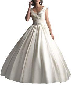 DAPENE® Women New V-Neck Ball Gown Sweep White Bridal Wedding Dress