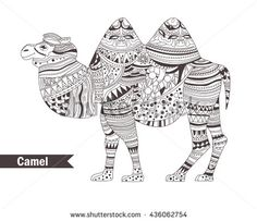 Camel. Zentangle style. Coloring book for adult, antistress coloring pages. Hand drawn vector isolated illustration on white background. Henna mehendi, tattoo sketch