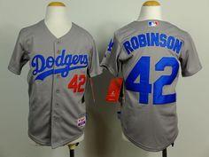 Los Angeles Dodgers #42 ROBINSON Grey Kids Jersey