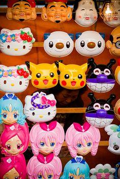 Japanese mask vendor at Matsuri festival