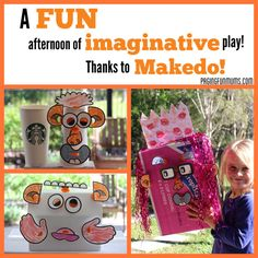 A FUN Afternnon of Imaginative Play - Thanks to Makedo - Paging Fun Mums Fun Crafts For Kids, Arts And Crafts, Paper Crafts, Bottles And Jars, Imaginative Play, Summer Fun, Upcycle, Recycling, Thankful