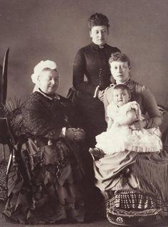 Four generations: Queen Victoria; Beatrice, Princess Henry of Battenberg; Victoria, Princess Louis of Battenberg; Princess Alice of Battenberg. April 26, 1886.