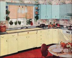 Retro Colorful kitchens were definitely the highlight of Mid-Century homes. - Retro kitchens of the are hot tamales these days. Big to little appliances are dressed up to be a retro kitchen. 14 Blast from the past retro kitchens. 1950s Kitchen, Vintage Kitchen, Retro Kitchens, Colorful Kitchens, Yellow Kitchens, Vintage Food, Vintage Decor, Kitchen Styling, Kitchen Decor