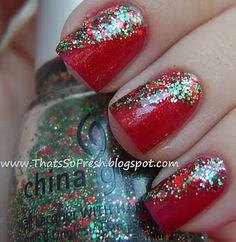 Love these! If you did gold stripes separating the base from the sparkle and on the inside put the green, red, and gold sparkles, that would be ADORABLE!