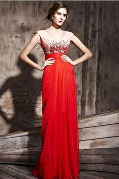 Sexy V-neck Sleeveless Tencel Evening Dresses - Red