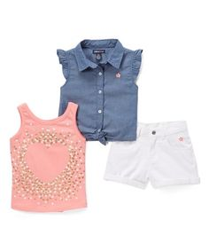 95fd004f5a6 Limited Too Conch Pink Embellished Heart Tank Set - Toddler   Girls. Kids  OutfitsGirl ...