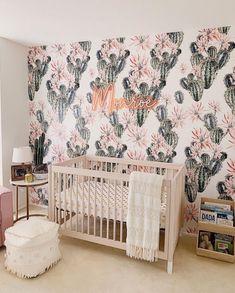 Oasis Wallpaper (Self-Adhesive) – Rocky Mountain Decals Baby Room Themes, Baby Girl Nursery Themes, Nursery Twins, Nursery Room, Vintage Nursery Girl, Baby Girl Nursery Wallpaper, Room Baby, Cowgirl Nursery, Jungle Theme Nursery