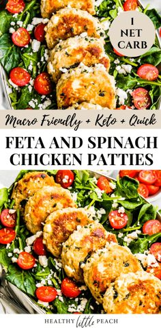 These Feta and Spinach Chicken Patties are the perfect healthy meal option. Serve them on top of a salad or along side your favorite veggie. Keto, Macro friendly and the perfect meal prep option. recipes healthy Feta and Spinach Chicken Patties (Keto) Diet Recipes, Low Carb Recipes, Cooking Recipes, Healthy Recipes, Recipes With Macros, Healthy Ground Chicken Recipes, Heart Healthy Meals, Meal Prep Recipes, Heart Healthy Chicken Recipes