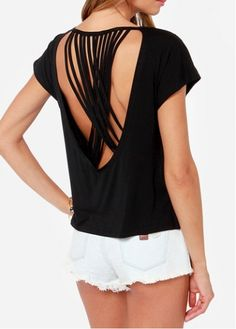 Enchanting Round Neck Open Back Black Tees for Woman  with cheap wholesale price, buy Enchanting Round Neck Open Back Black Tees for Woman  at wholesaleitonline.com !