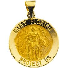 Sterling Silver 24k Gold-plated Saint Florian Medal Charm Pendant