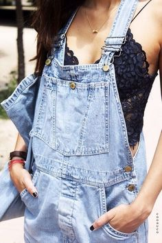 black lace + overalls. would rather have a long sleeve or puffy short sleeve lacy top