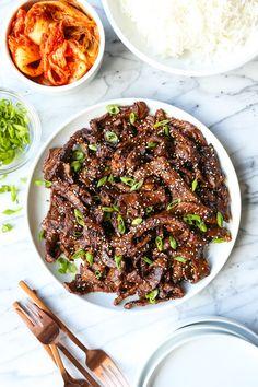 Korean Beef Bulgogi - Damn Delicious Meat Recipes, Asian Recipes, Healthy Recipes, Healthy Food, Cake Recipes, Recipes Dinner, Thin Steak Recipes, Easy Korean Recipes, Oriental Recipes