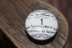Handstamped French Inspired Scroll Numbered Knob by VintageSkye, $7.00