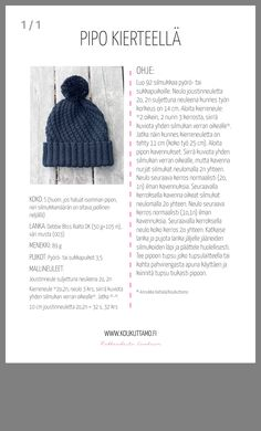 Muu neule Crochet Cap, Crochet Beanie, Knitted Hats, Crochet Patterns For Beginners, Knitting Patterns, Crochet Decoration, Knitting Projects, Baby Knitting, Lana