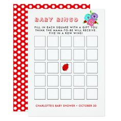 Pretty Flowers Ladybugs Cute Whimsy Baby Bingo Card - kids kid child gift idea diy personalize design