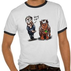 Man and monkey cartoon t-shirt