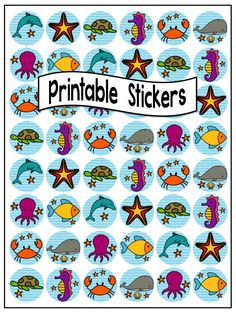 $2 the whole set - Printable 'Sea Creature' Sticker Templates at Clever Chameleon TPT. Print on round labels OL3012 https://www.onlinelabels.com/OL3012.htm