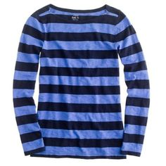 ⬇️ Sale! J. Crew Striped Boatneck Painter Tee Bold navy and cobalt blue stripes make this J. Crew retail boatneck painter tee a top for every season. Please note that the top is a M but fits on the smaller side. I cut out the side tag with fiber content, but the top feels like 100% cotton. Please note that the cover photo is a stock photo; color is best represented in pictures #2, 3 and 4. In excellent condition with no holes, stains or tears. Worn a handful of times. Please ask questions…