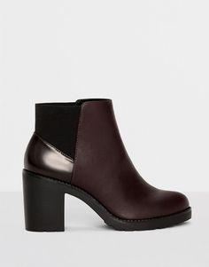 Pull&Bear - femme - chaussures - tout afficher - bottine grenat à talon assorti - bordeaux - 15265111-I2016