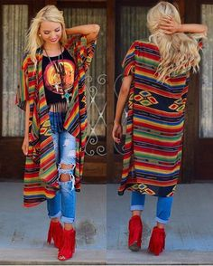 In ThE VaLLeY oF tHe GuN MULTI COLOR SERAPE DUSTER Comes in Small/Medium and Large/Extra Large Price: $48.00, Free Shipping