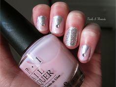 pink, silver, glitter prom/graduation nail art  nailsandthreads.blogspot.com