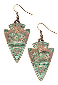 Copper Tone Turquoise Blue Patina Metal Arrow Head Earrings with Fire Bird by Lucky You -- Awesome products selected by Anna Churchill