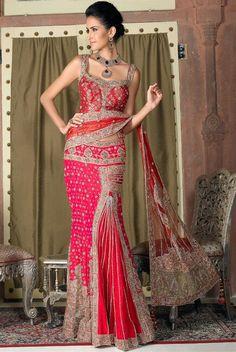 Ethnic combination of red & pink lehenga saree Pakistani Dresses, Indian Dresses, Indian Outfits, Indian Clothes, Churidar, Anarkali, Salwar Kameez, Lehanga Saree, Lehenga Style