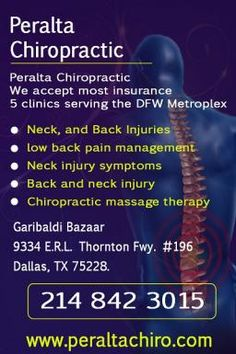 We accept most insurance  5 clinics serving the DFW Metroplex    Neck, and Back Injuries  Low back pain management  Neck injury symptoms  Back and neck injury  Chiropractic massage therapy    Call - 214 842 3015
