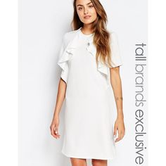 Alter Tall Ruffle Front Short Sleeve Shift Dress (290 MYR) ❤ liked on Polyvore featuring dresses, cream, ruffle front dress, flounce dress, white dress, short-sleeve dresses and tall dresses