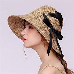 d8b72cd18067d Bow straw hat crochet design summer sun hats for women