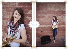 senior picture with saxophone