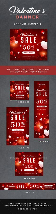 Valentines Day Sale Banners - Banners & Ads Web Elements Download here : https://graphicriver.net/item/valentines-day-sale-banners/19368153?s_rank=109&ref=Al-fatih