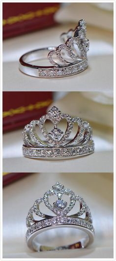 gorgeous sparkle CZ crown promise / engagement ring for her