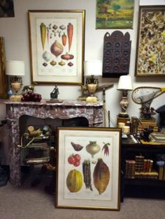 French Vegetable Prints   Framed   $225 Pair   Country Garden Antiques 147 Parkhouse  Dallas, TX 75207