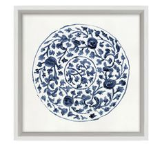 Intricate patterns in blue and white evoke porcelain plates in this watercolor artwork. Giclee reproduction on paper is designed in a Pine frame with a matte white edge. D-ring mounting. Sold as a set of four or sold individually. Blue Tapestry, Nautical Pattern, White Wall Decor, Pottery Barn Inspired, Blue Home Decor, Mirror Art, Watercolor Artwork, Tile Patterns, Wall Sculptures